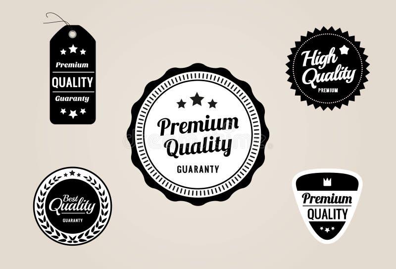 Contrassegni premio di garanzia & di qualità e distintivi - retro disegno di stile illustrazione di stock