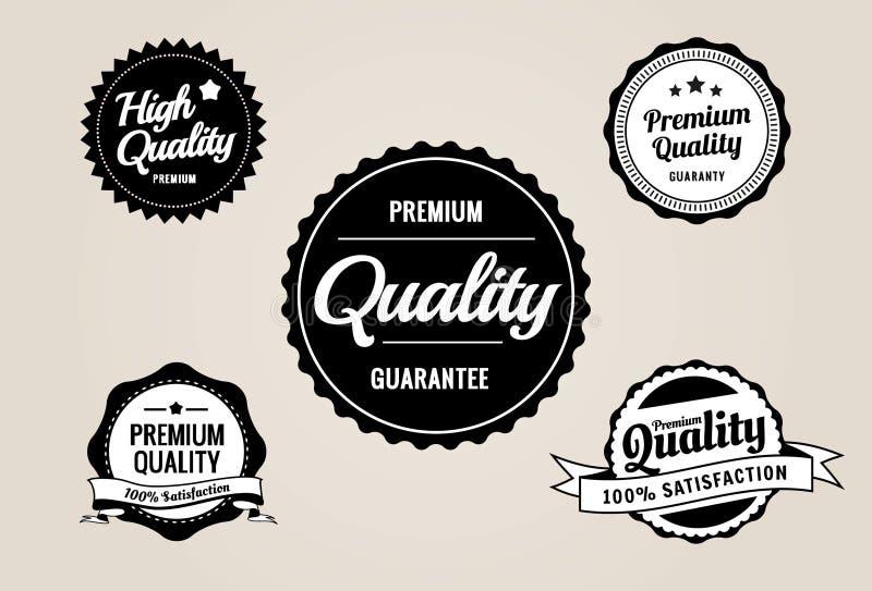 Contrassegni premio di garanzia & di qualità - retro disegno di stile illustrazione di stock
