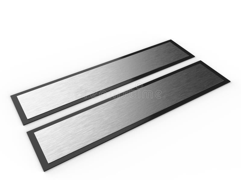 Contrassegno in bianco della porta e della parete della struttura o targhetta con di piastra metallica spazzolato 3d rendono l'il royalty illustrazione gratis