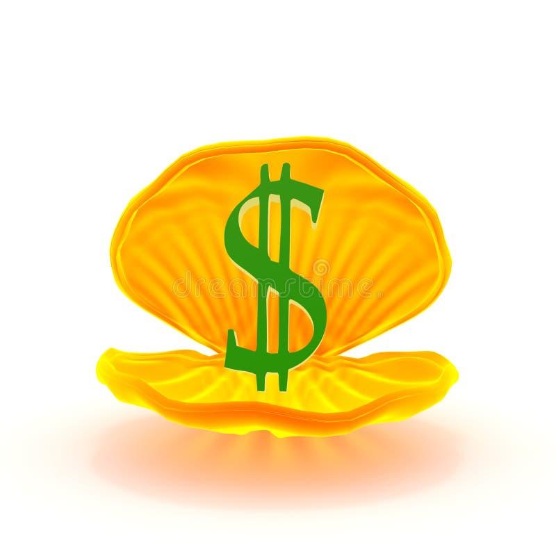 contrassegno del dollaro all'interno del mitilo illustrazione vettoriale