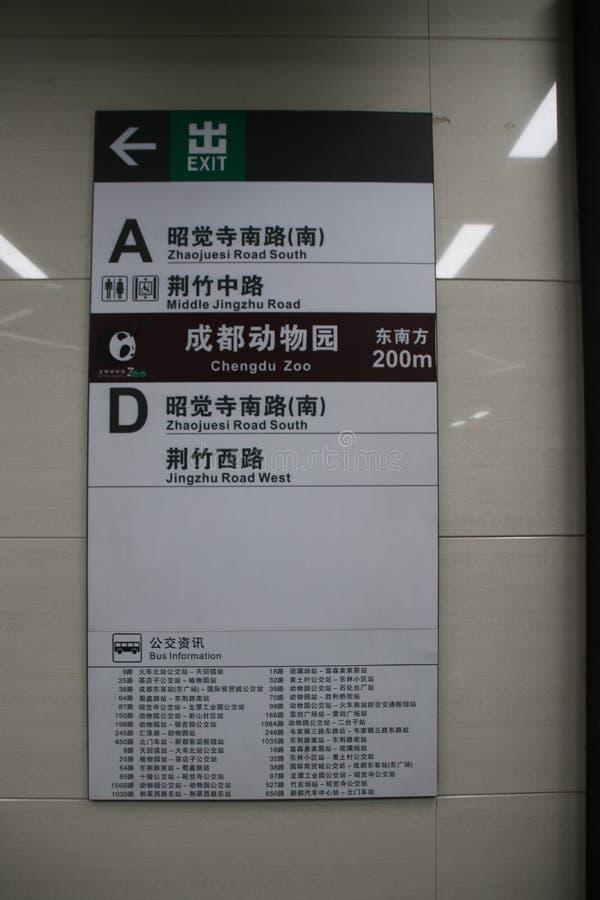 Contrassegno del sottopassaggio per lo zoo di Chengdu, Cina fotografia stock libera da diritti