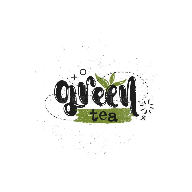 Contrassegno del tè verde illustrazione vettoriale