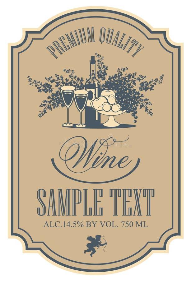 Contrassegno del vino illustrazione di stock