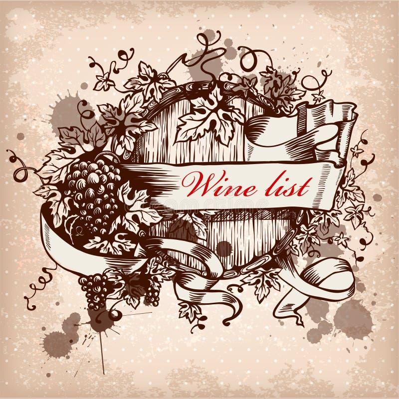 Contrassegno del vino con l'uva sulla priorità bassa del grunge royalty illustrazione gratis