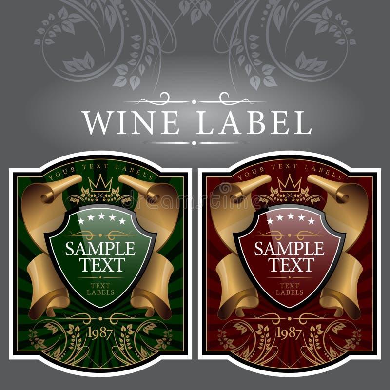 Contrassegno del vino con un nastro dell'oro royalty illustrazione gratis