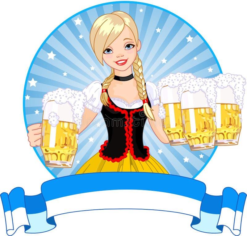 Contrassegno della ragazza di Oktoberfest illustrazione vettoriale