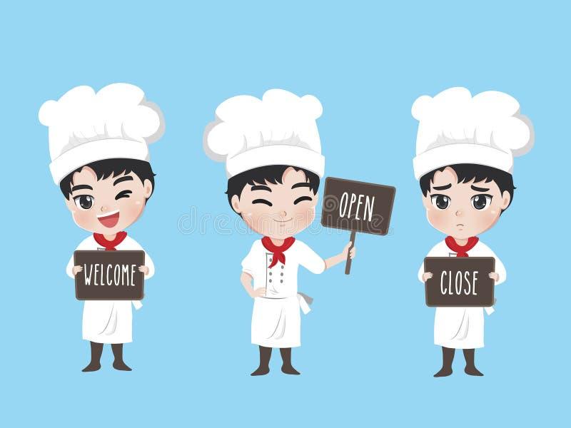 Contrassegno della tenuta del ragazzo del cuoco unico per il ristorante illustrazione di stock