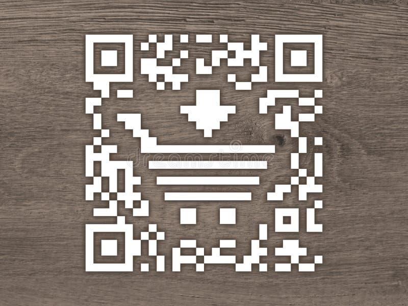 Contrassegno di codice di concetto QR con un carrello di acquisto royalty illustrazione gratis