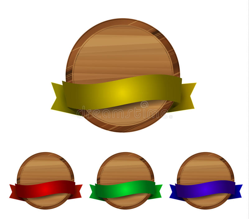 Contrassegno di legno con il nastro lucido illustrazione vettoriale