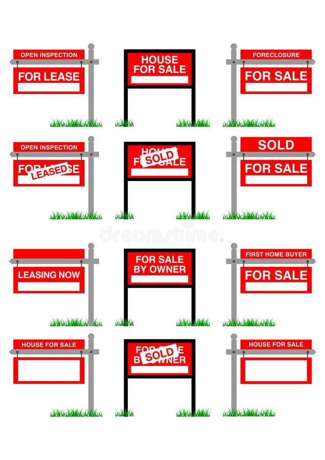 Contrassegno di vendita del bene immobile di vettore illustrazione di stock