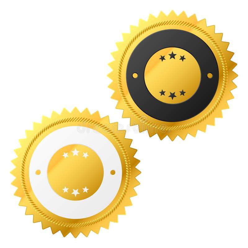 Contrassegno dorato di vettore illustrazione di stock