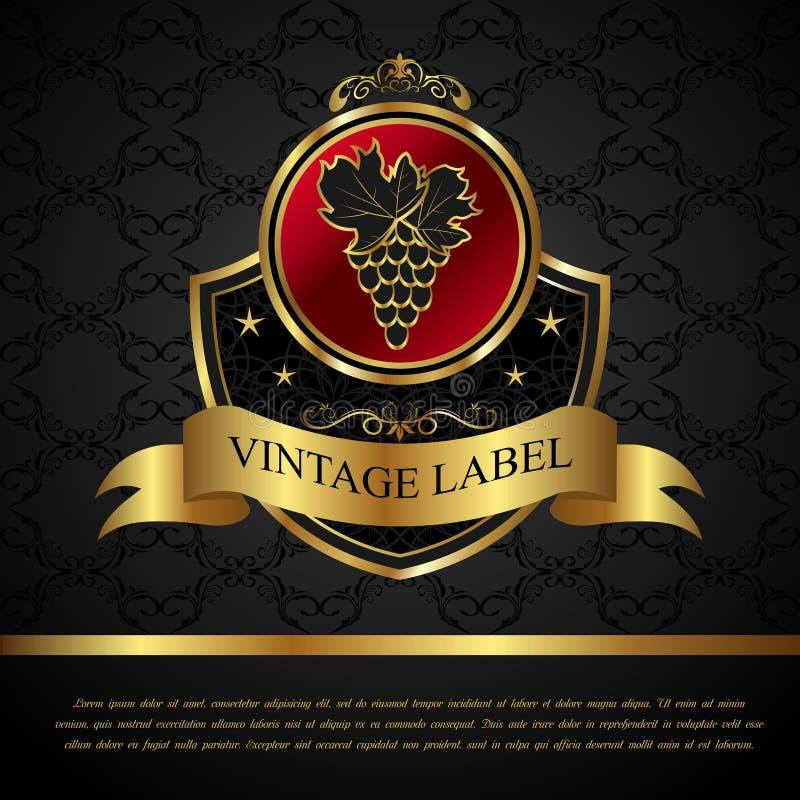 Contrassegno dorato per il vino dell'imballaggio royalty illustrazione gratis