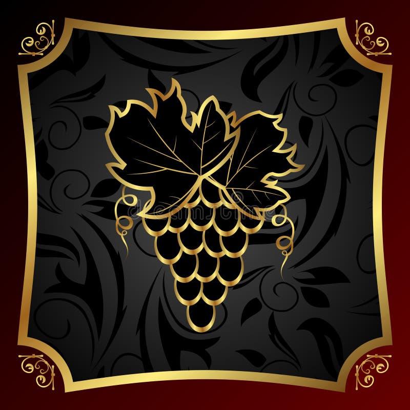 Contrassegno dorato per il vino dell'imballaggio illustrazione di stock