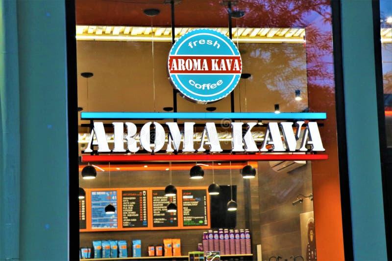 Contrassegno e vetrina di una caffetteria di kava-kava dell'aroma Situato a Odessa, l'Ucraina immagine stock