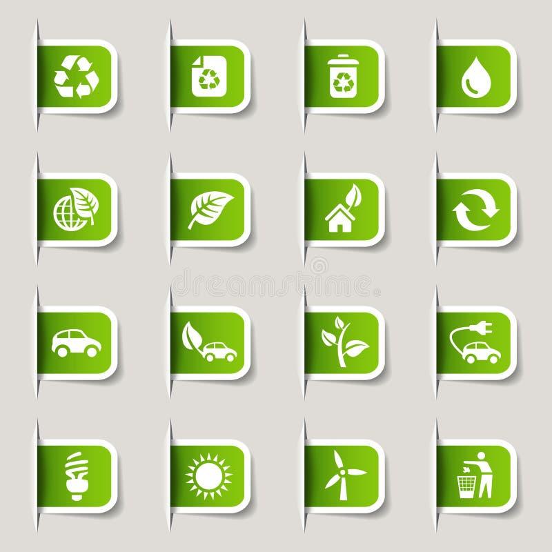 Contrassegno - icone ecologiche royalty illustrazione gratis