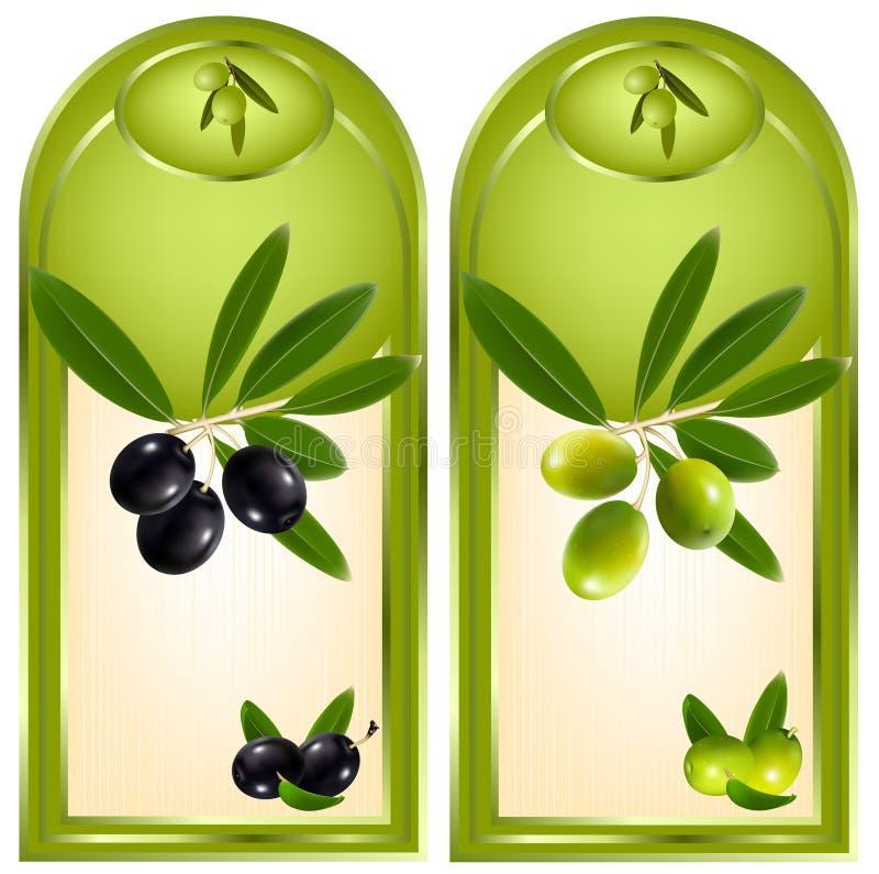 Contrassegno per il prodotto. Olio di oliva. illustrazione di stock