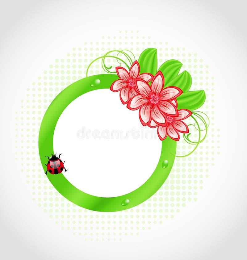 Contrassegno sveglio della sorgente con il fiore, foglie, signora-scarabeo illustrazione di stock