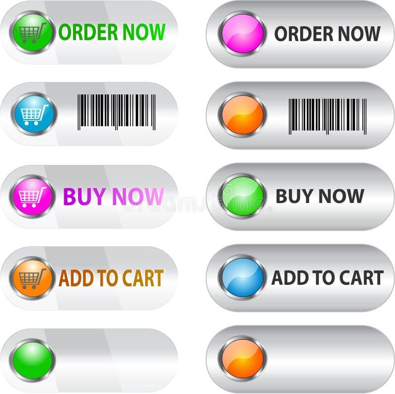 Contrassegno/tasto impostato per il commercio elettronico royalty illustrazione gratis