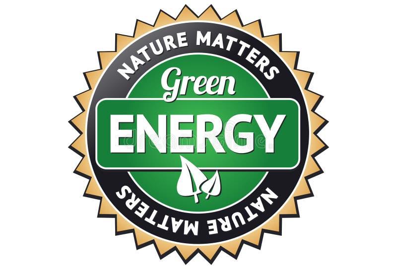 Contrassegno verde di energia illustrazione di stock