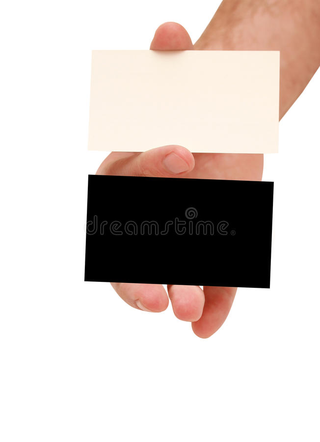 Contrast business cards in hand. Two business cards in hand. white and black stock photo