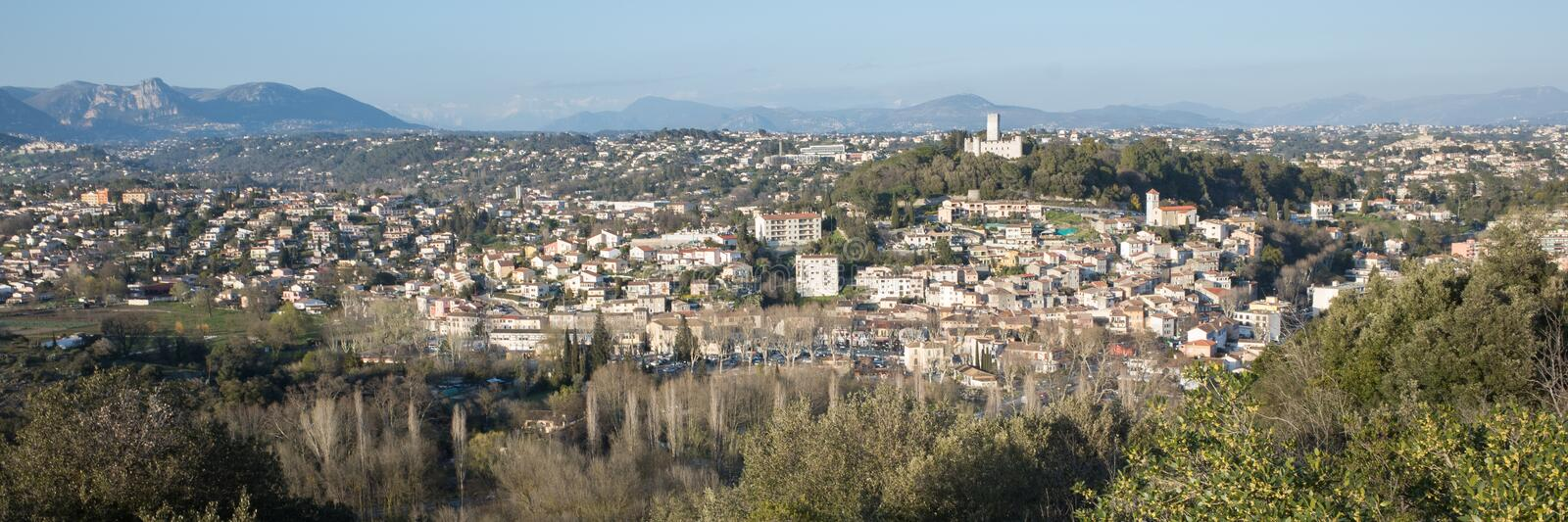 Villeneuve Loubet village. Contrast between the cold of the snow and the heat of the rising sun stock images
