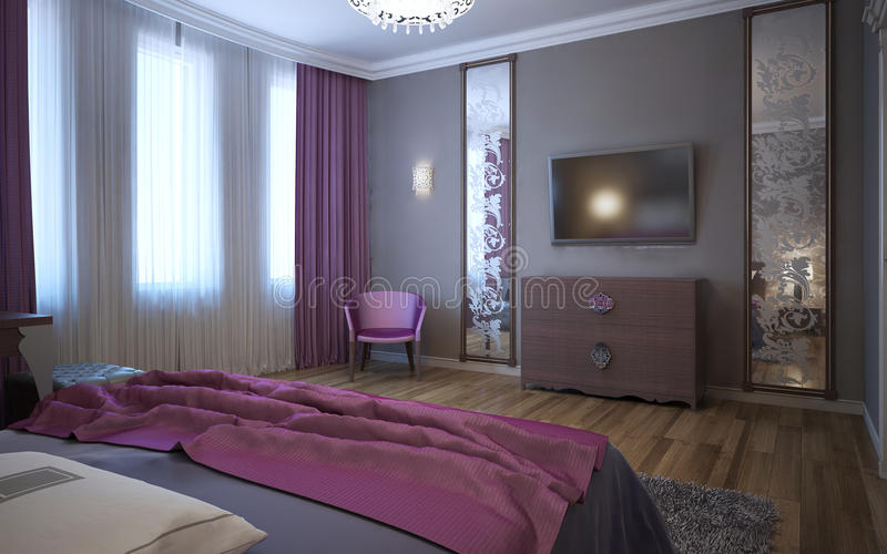 Contrast of dark pink and grey in interior. Of fusion bedroom. 3D render royalty free stock photo