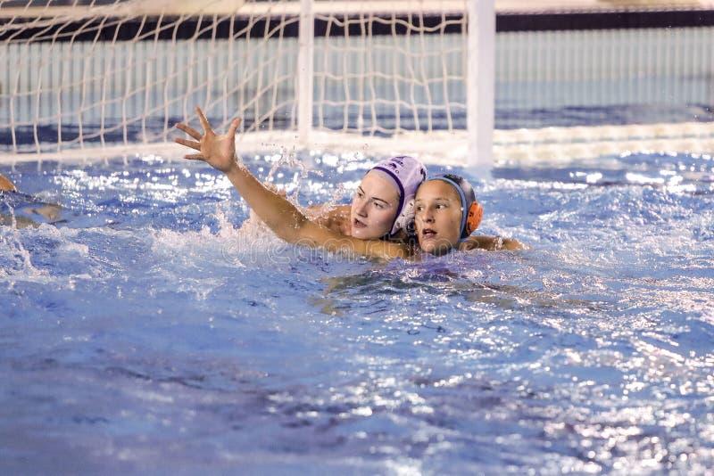 Waterpolo EuroLeague Women Championship Kinef Surgutneftegas Kirishi vs Dunaujvaros royalty free stock photo