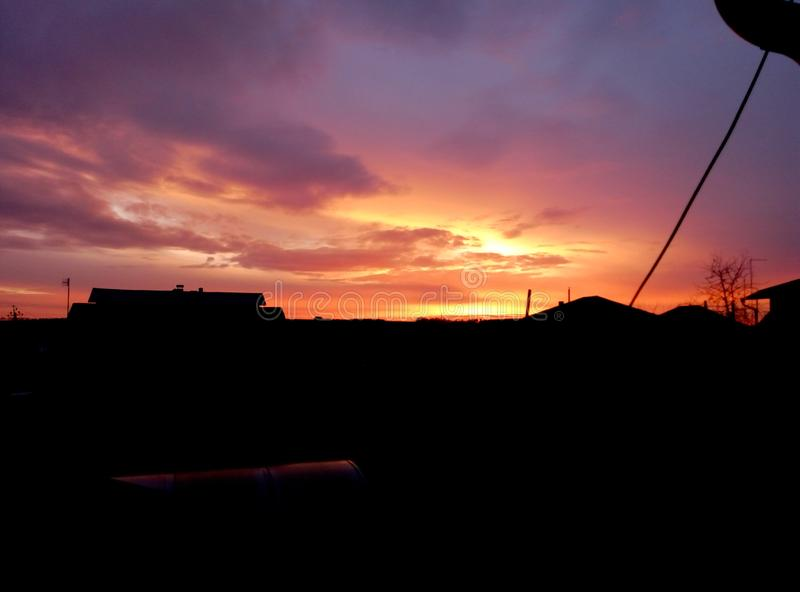 The contrast of evening sunsets. This is true contrast of evening sunsets, which I happened to see royalty free stock photos