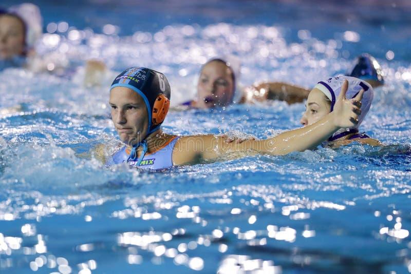 Waterpolo EuroLeague Women Championship Kinef Surgutneftegas Kirishi vs Dunaujvaros stock image