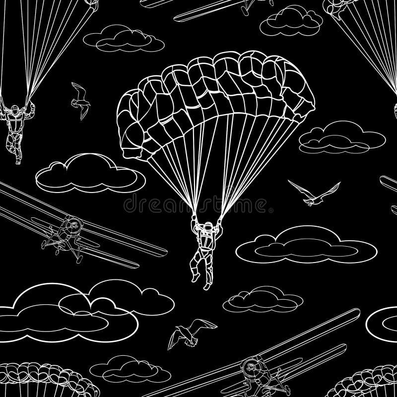 Contrast naadloos patroon van contour witte cijfers van parachutisten, sportenvliegtuigen, vogels en wolken op zwarte achtergrond royalty-vrije illustratie