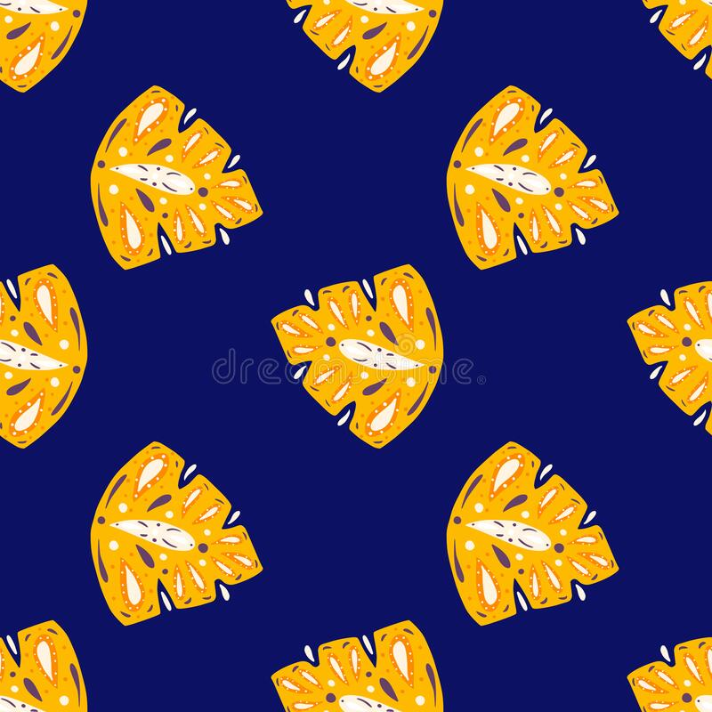 Free Contrast Seamless Pattern With Doodle Yellow Abstract Folk Monstera Ornament. Bright Navy Blue Background Stock Images - 218638704