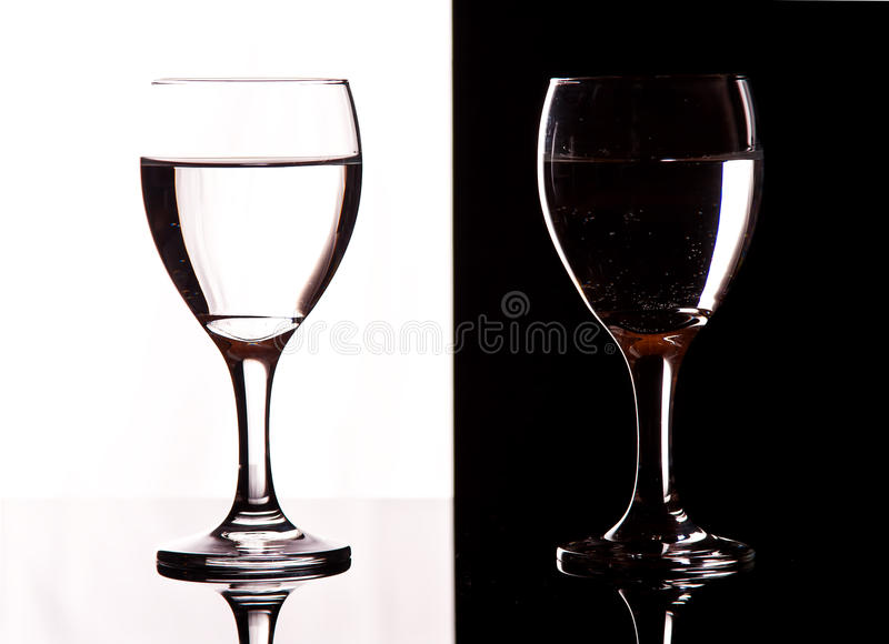 Download Contrast wine glasses stock photo. Image of light, classic - 25038430