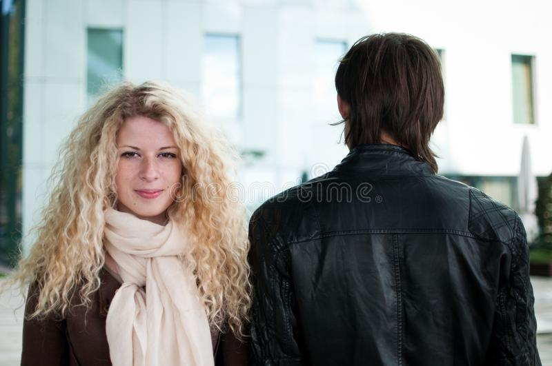 Download Contrast - woman and man stock image. Image of scarf - 21890861