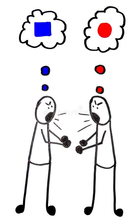Contraste de pareceres ilustración del vector