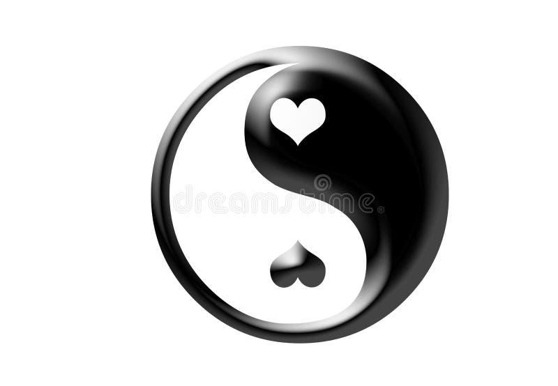 Contraste del ejemplo de los corazones de Ying yang libre illustration