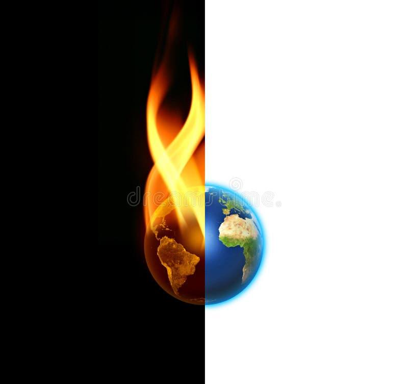 Contraste do mundo entre bens e o mal ilustração royalty free