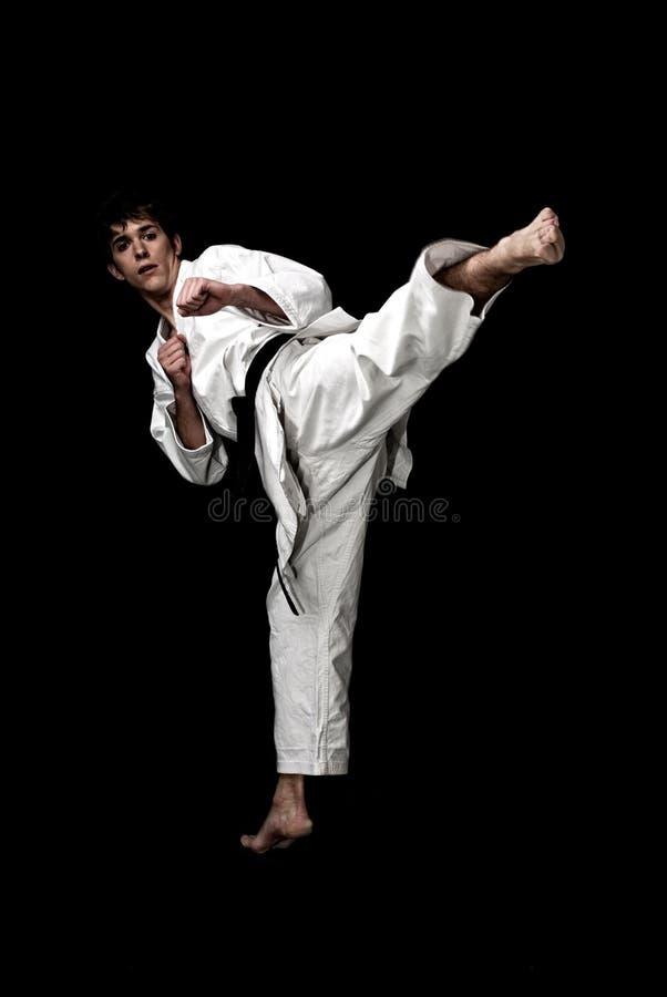 Contraste elevado novo do lutador masculino do karaté no preto imagem de stock royalty free
