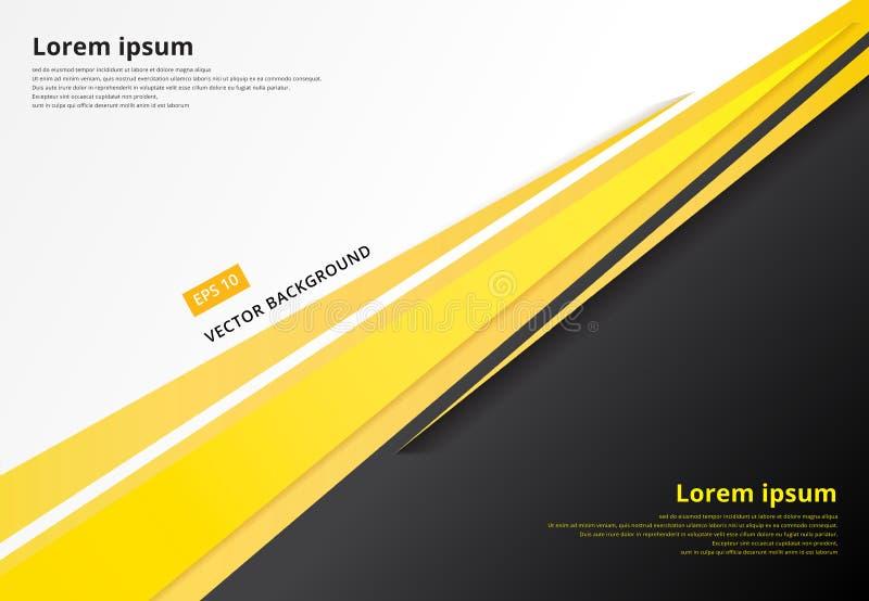 Contraste gris y blanco del concepto de la plantilla del negro corporativo del amarillo libre illustration