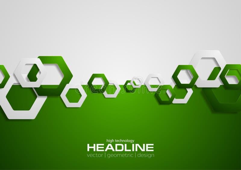 Contraste o fundo verde e cinzento da tecnologia com hexágonos ilustração stock