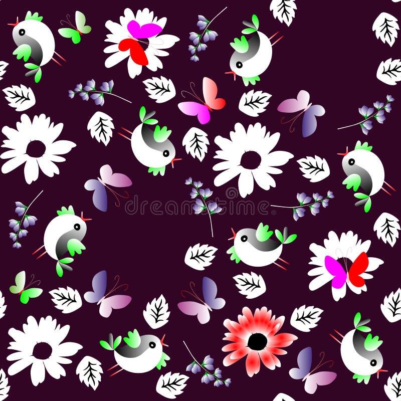 Contraste o teste padrão natural sem emenda com as folhas, as flores, as borboletas e os pássaros isolados no fundo preto Projeto ilustração royalty free
