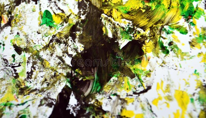 Contrastes amarelos brancos verdes pretos do sumário, fundo da aquarela da pintura, fundo abstrato da aquarela da pintura imagens de stock royalty free