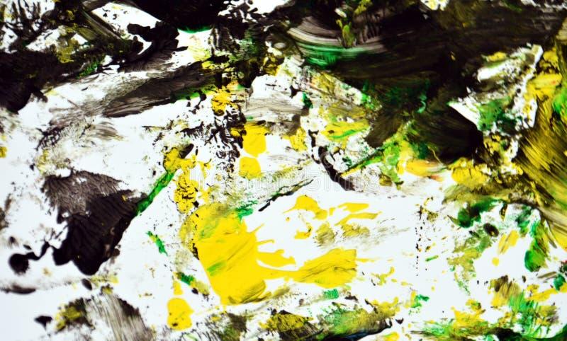 Contrastes amarelos cinzentos verdes pretos, fundo da aquarela da pintura, fundo de pintura abstrato da aquarela foto de stock