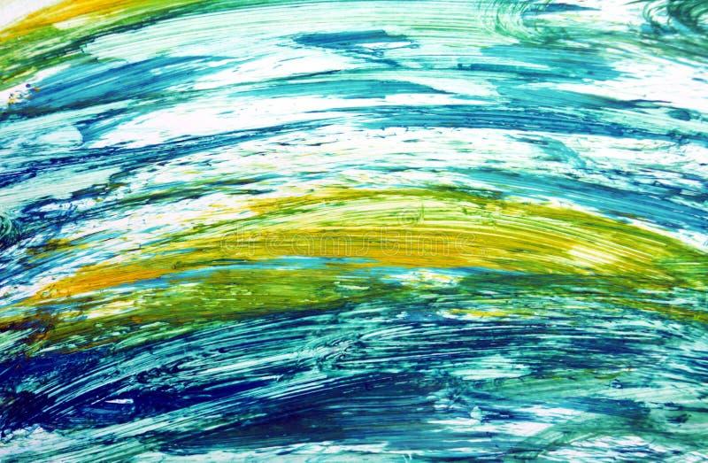Contrastes amarillos azules abstractos, fondo de la acuarela de la pintura, fondo de pintura abstracto de la acuarela fotos de archivo