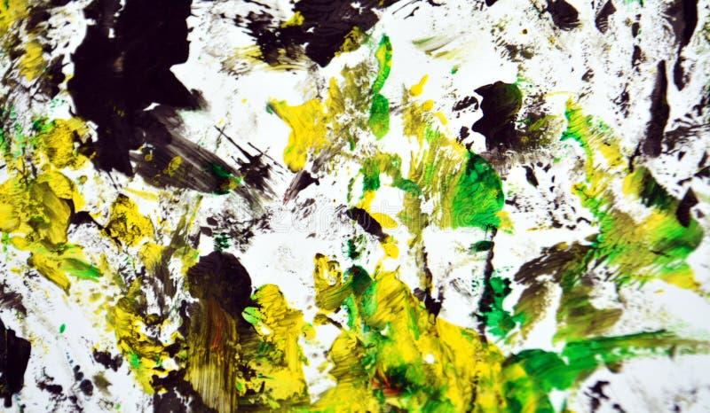 Contrastes amarillos blancos negros, fondo de la acuarela de la pintura, fondo de pintura abstracto de la acuarela imagen de archivo