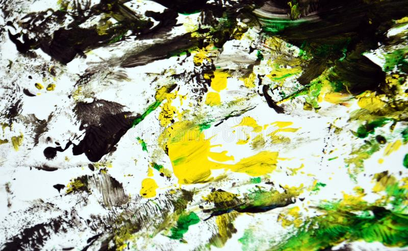 Contrastes amarillos verdes negros del extracto, fondo de la acuarela de la pintura, fondo abstracto de la acuarela de la pintura fotografía de archivo