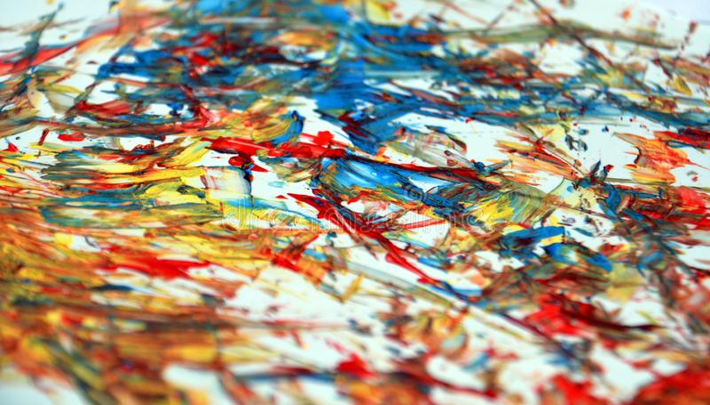 Contrastes azules amarillos anaranjados rojos, fondo de la acuarela de la pintura, fondo de pintura abstracto de la acuarela imagen de archivo libre de regalías