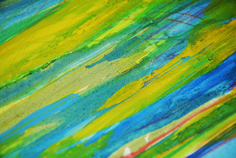 Contrastes azules amarillos, fondo creativo de la acuarela de la pintura foto de archivo
