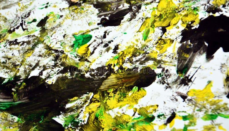 Contrastes escuros pretos amarelos verdes, fundo da aquarela da pintura, fundo de pintura abstrato da aquarela imagens de stock royalty free