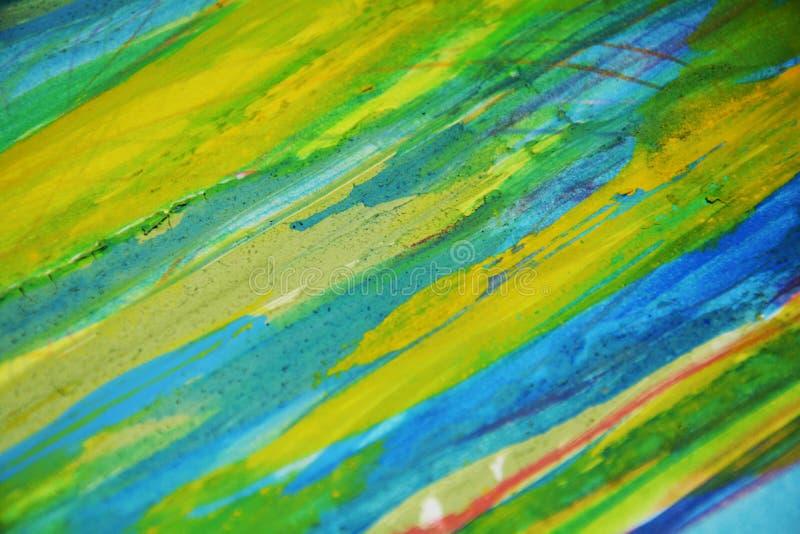 Contrasti blu gialli, fondo creativo dell'acquerello della pittura fotografia stock