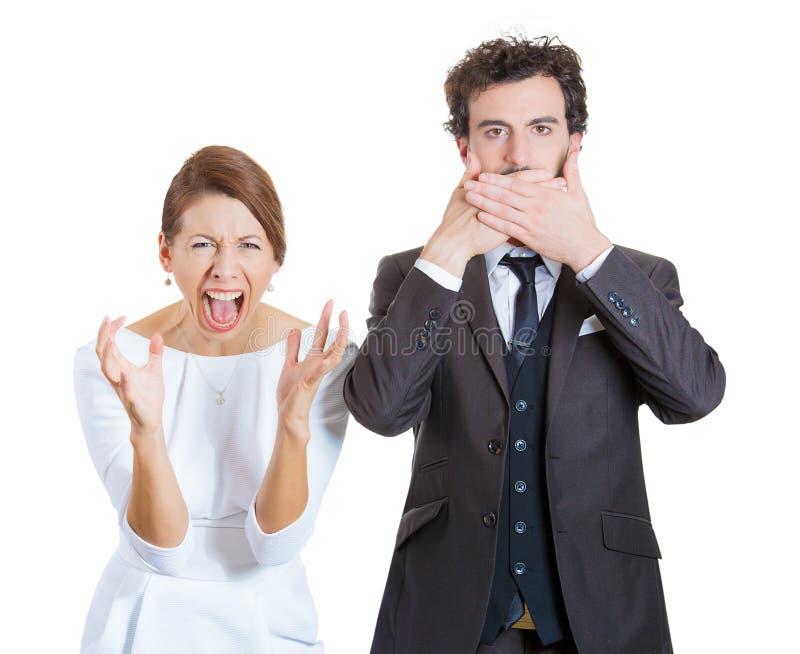Contrasti di emozione della coppia sposata immagini stock libere da diritti